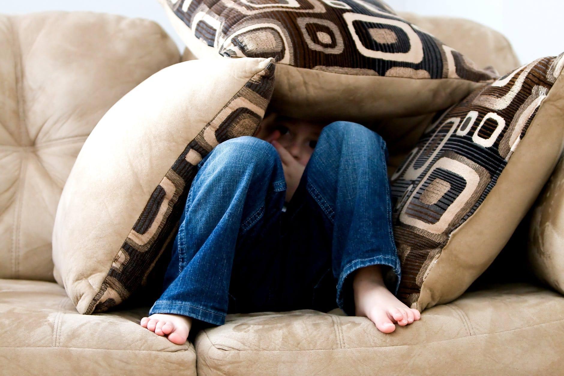 hiding under pillows